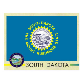 Cartão Postal Bandeira e selo do estado de South Dakota