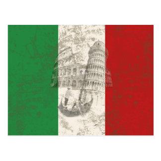 Cartão Postal Bandeira e símbolos de Italia ID157