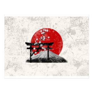 Cartão Postal Bandeira e símbolos de Japão ID153