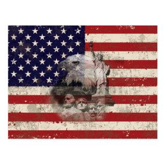 Cartão Postal Bandeira e símbolos dos Estados Unidos ID155