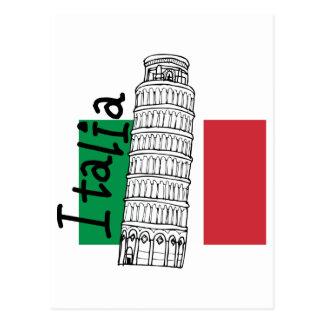Cartão Postal Bandeira italiana e torre inclinada de Pisa
