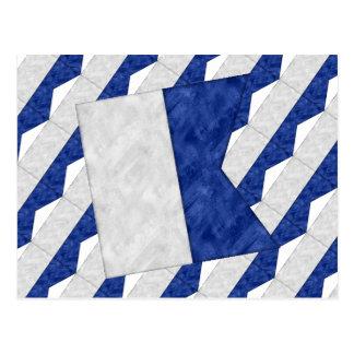 Cartão Postal Bandeira marítima do sinal náutico da aguarela