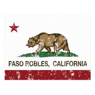 Cartão Postal Bandeira Paso Robles da república de Califórnia