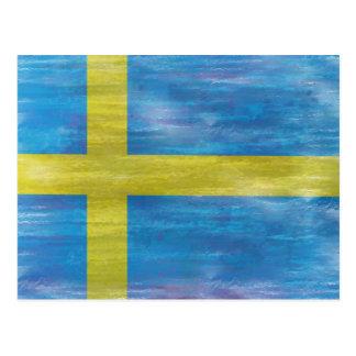 Cartão Postal Bandeira sueco afligida suecia