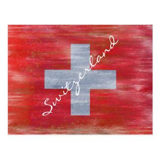 Cartão Postal Bandeira suíça afligida suiça