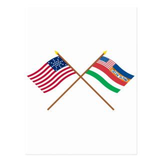 Cartão Postal Bandeiras 27 e 1845 estrela cruzada dos E.U. de