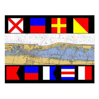 Cartão Postal Bandeiras de sinal náuticas da carta de Vero