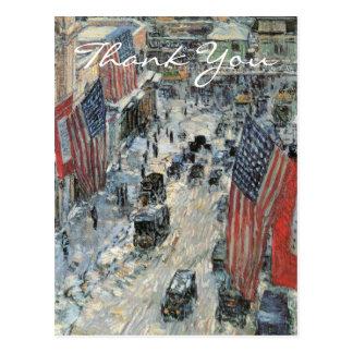 Cartão Postal Bandeiras na 57th rua por Frederick Childe Hassam