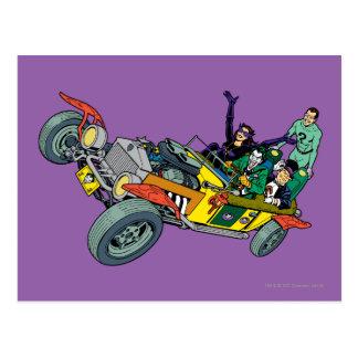 Cartão Postal Bandidos de Batman em Jokermobile
