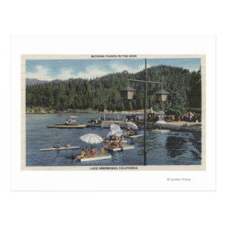 Cartão Postal Banhando flutuadores, nadadores na angra
