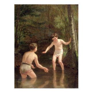 Cartão Postal Banhando meninos, 1873