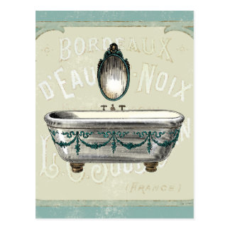 Cartão Postal Banheira do vintage com espelho