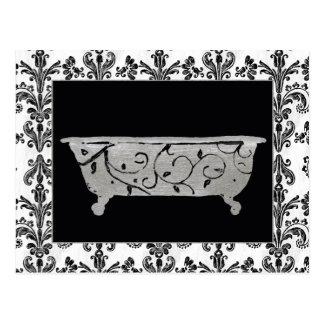 Cartão Postal Banheira em preto e branco