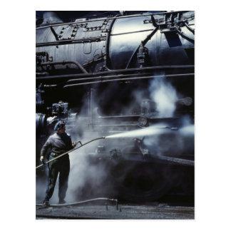 Cartão Postal Banho de vapor locomotivo: 1943
