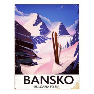 Cartão Postal Bansko Bulgária a esquiar