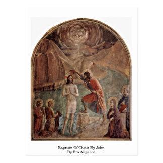 Cartão Postal Baptismo do cristo por John por Fra Angelico