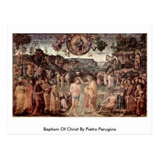 Cartão Postal Baptismo do cristo por Pietro Perugino