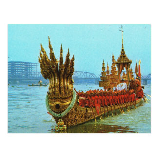 Cartão Postal Barca real de Tailândia, Banguecoque no rio