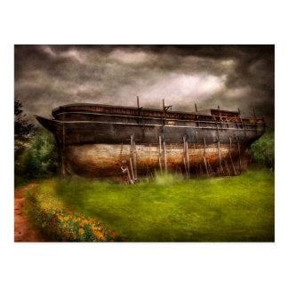 Cartão Postal Barco - a construção da arca de Noah
