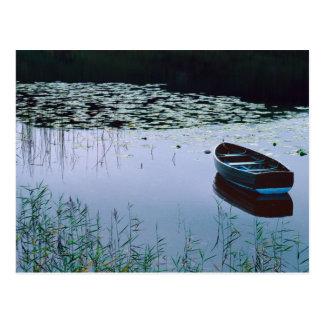 Cartão Postal Barco a remos no lago pequeno cercado pela água