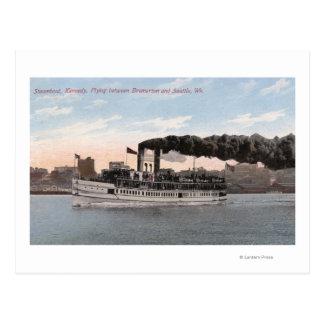 Cartão Postal Barco a vapor de Kennedy que sae para Bremerton