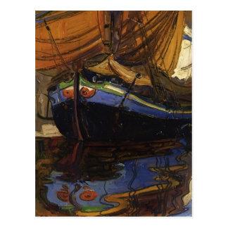 Cartão Postal Barco da Schiele-Navigação de Egon com reflexão na