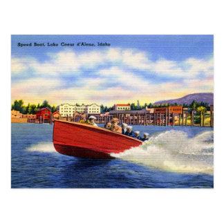 Cartão Postal Barco de madeira da velocidade no d'Alene de Coeur
