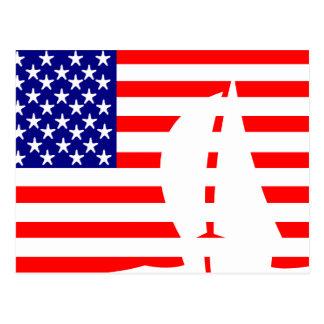 Cartão Postal Barco de vela da bandeira americana náutico