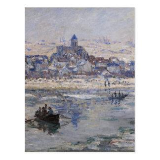 Cartão Postal Barco do en Hiver de Vetheuil no rio