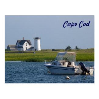 Cartão Postal Barco e farol Chatham Cape Cod