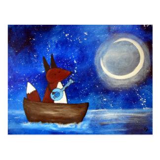 Cartão Postal Barco lunático da arte do Fox do canto miúdos