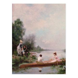 Cartão Postal Barco no rio, século XIX