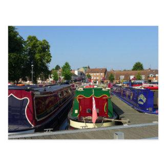 Cartão Postal Barcos de canal, rio Avon, Stratford-em cima-Avon