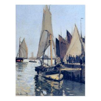 Cartão Postal Barcos de navigação em Honfleur por Claude Monet