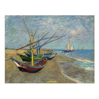 Cartão Postal Barcos de pesca na praia por Van Gogh