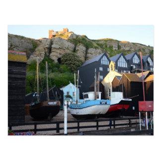 Cartão Postal Barcos de pesca tradicionais e cabanas de