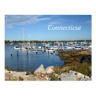 Cartão Postal barcos em um porto em Stonington, Connecticut