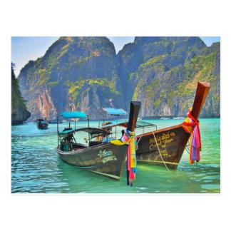 Cartão Postal Barcos na baía do Maya