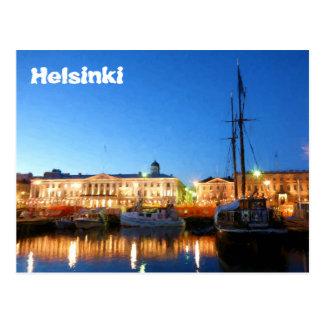 Cartão Postal Barcos no mercado de Helsínquia na noite