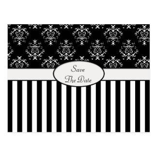 Cartão Postal Barroco listrado preto & branco