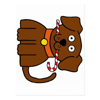Cartão Postal Bastão de doces do filhote de cachorro