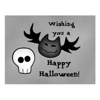 Cartão Postal Bastão de vampiro bonito e crânio o Dia das Bruxas