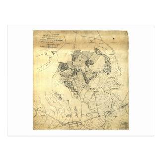 Cartão Postal Batalha Antietam mapa do 16 de setembro & de 17