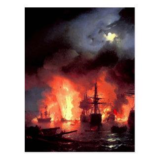 Cartão Postal Batalha de Ivan Aivazovsky- de Cesme na noite