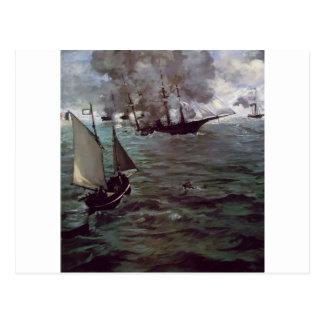 Cartão Postal Batalha de Kearsage e de Alabama por Edouard Manet