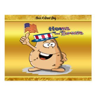 Cartão Postal Batata patriótica com chapéu americano e uma