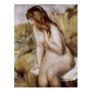 Cartão Postal Bather que senta-se em uma rocha, Pierre-Auguste