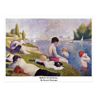 Cartão Postal Bathers em Asnieres, por Seurat Georges