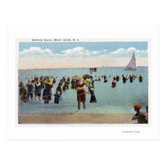 Cartão Postal Bathers na praia