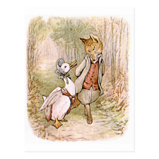 Cartão Postal Beatrix Potter, pato da poça de Jemima, Sr. Tod